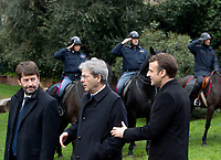 From left, Italian Culture Minister Dario Franceschini, Premier Paolo Gentiloni and French President Emmanuel Macron leave after visiting the Domus Aurea in Rome, January 11, 2018.<br /> UPDATE IMAGES PRESS/Riccardo De Luca<br /> ITALY OUT