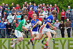 In Action St. Kierans Barry Lynch and Mid Kerry's Darren O'Sullivan in the Kerry Senior County Football Championship Round 1St. Kierans V Mid Kerry game at Castleisland Desmonds GAA on Saturday