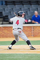 Charlie White (4) of the Maryland Terrapins at bat against the Wake Forest Demon Deacons at Wake Forest Baseball Park on April 4, 2014 in Winston-Salem, North Carolina.  The Demon Deacons defeated the Terrapins 6-4.  (Brian Westerholt/Four Seam Images)