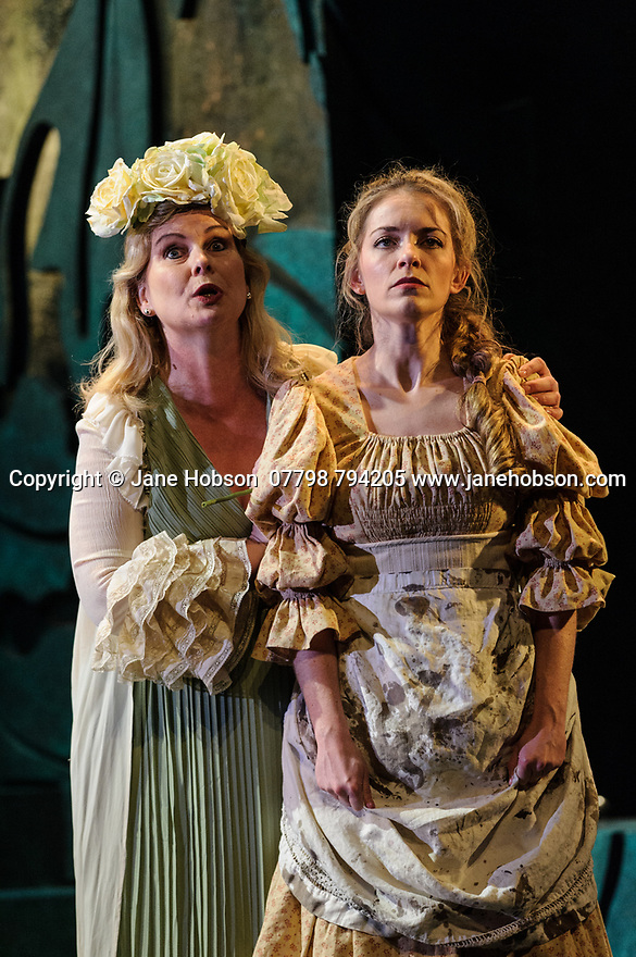 London, UK. 07.03.2017. English Touring Opera presents PATIENCE, by Gilbert & Sullivan, at the Hackney Empire, prior to its UK tour. Picture shows: Gaynor Keeble (Angela) and Lauren Zolezzi) (Patience). Photograph © Jane Hobson.