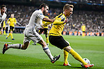 Real Madrid's Daniel Carvajal and Borussia Dortmund Marco Reus during the UEFA Champions League match between Real Madrid and Borussia Dortmund at Santiago Bernabeu Stadium in Madrid, Spain. December 07, 2016. (ALTERPHOTOS/BorjaB.Hojas)