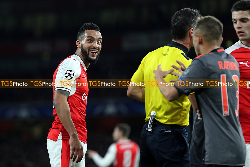 Arsenal's Theo Walcott laughs at the FC Bayern Munich players after they accuse him of diving during Arsenal vs FC Bayern Munich, UEFA Champions League Football at the Emirates Stadium on 7th March 2017