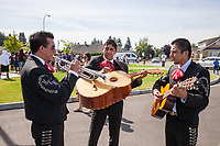 Mariachi Monarcas Band Practicing, Auburn Days Parade & Festival 2016, Auburn, WA, USA.