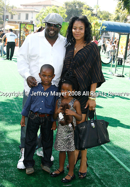 "WESTWOOD, CA. - October 26: Actor Cedric The Entertainer and family arrive at the premiere of Dreamworks' ""Madagascar: Escape 2 Africa"" at the Mann Village Theater on October 26, 2008 in Los Angeles, California."