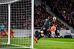 Goalkeeper Jan Oblak of Atletico de Madrid saves the ball during the La Liga 2017-18 match between Atletico de Madrid and Real Madrid at Wanda Metropolitano  on November 18 2017 in Madrid, Spain. Photo by Diego Gonzalez / Power Sport Images