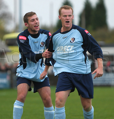 17th October 2009. Dartford striker Alan Tait celebrates his winning goal during the second half - and is congratulated by teammate Ryan Hayes. FA Trophy 1st Qualifying Round - Sittingbourne v Dartford at Sittingbourne, Kent, England. Photo: Colin Read/actionplus