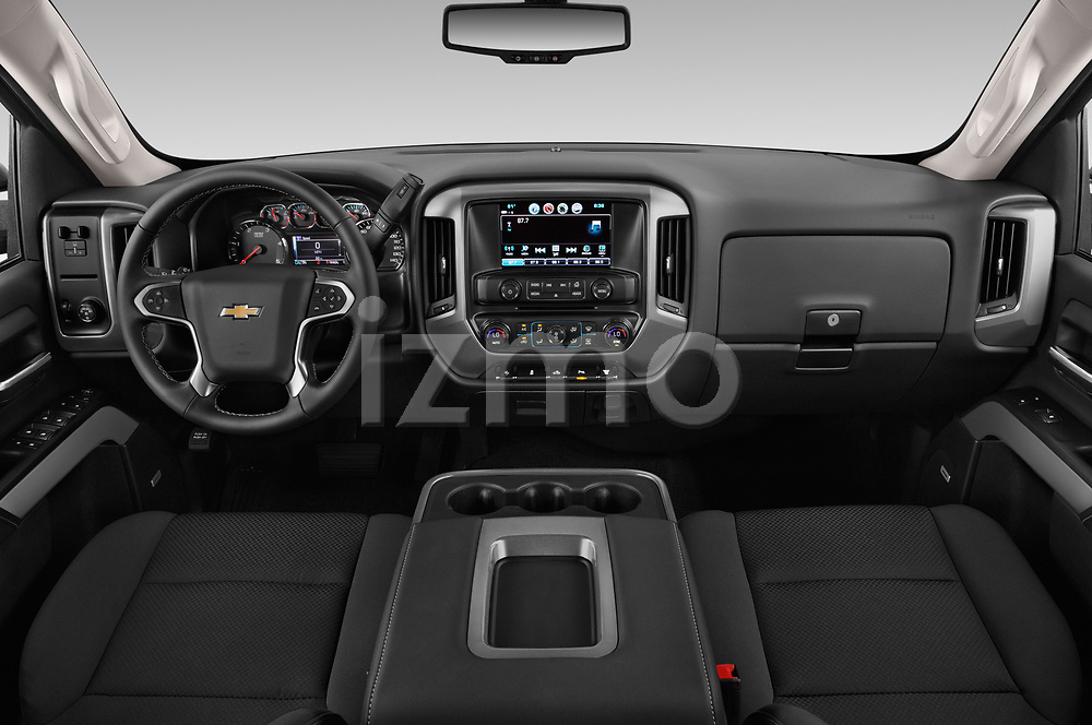 Stock photo of straight dashboard view of a 2019 Chevrolet Silverado 2500 LT Crew Cab 4 Door Pick Up
