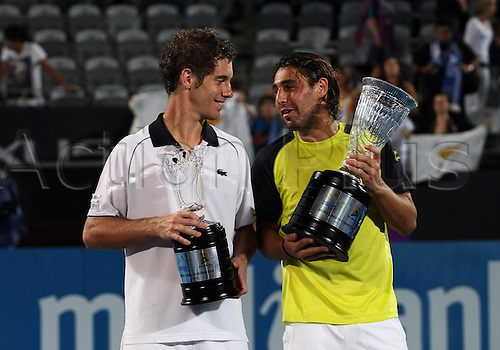 January 16 2010: Competitors at the presentation after Marcos Baghdatis (CYP)  6-4, 7-6 win over Richard Gasquet (FRA) in the final of the Sydney Medibank International played at Sydney Olympic Park Tennis Centre, NSW, Australia.Photo: Rob Sheeley/Actionplus- Editorial Use Only..