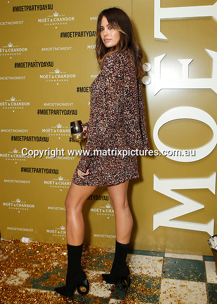 17 JUNE 2017 SYDNEY AUSTRALIA<br /> WWW.MATRIXPICTURES.COM.AU<br /> <br /> NON EXCLUSIVE PICTURES<br /> <br /> Jesinta Campbell pictured. <br /> <br /> Mo&euml;t &amp; Chandon Mo&euml;t Party Day Gold Party at Coogee Bay Pavilion guest arrivals including Jesinta Franklin, Natalie Roser, Harley Bonner, Erin Holland, Tanja Gacic, Amy Pejkovic and Adam Tomlinson<br /> <br /> Note: All editorial images subject to the following: For editorial use only. Additional clearance required for commercial, wireless, internet or promotional use.Images may not be altered or modified. Matrix makes no representations or warranties regarding names, trademarks or logos appearing in the images.