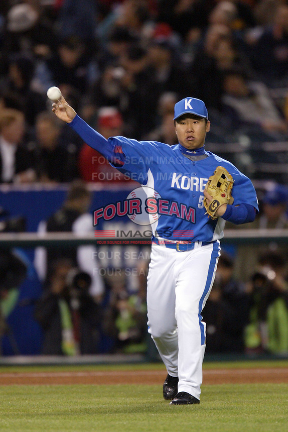 Bum-Ho Lee of Korea during the World Baseball Championships at Angel Stadium in Anaheim,California on March 15, 2006. Photo by Larry Goren/Four Seam Images