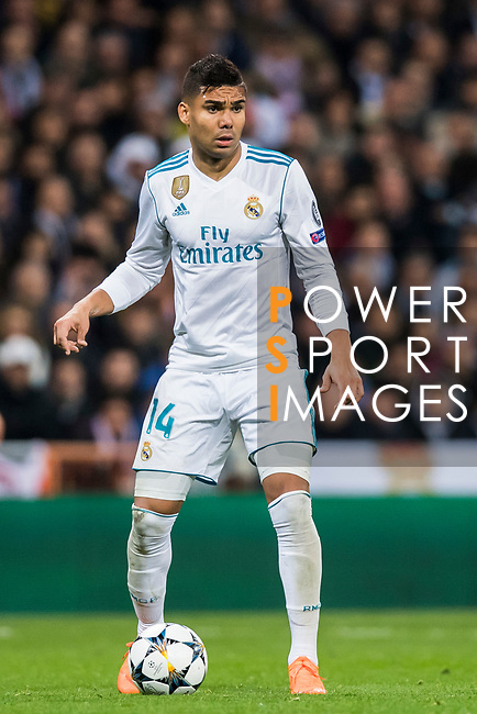 Carlos Henrique Casemiro of Real Madrid in action during the UEFA Champions League 2017-18 Round of 16 (1st leg) match between Real Madrid vs Paris Saint Germain at Estadio Santiago Bernabeu on February 14 2018 in Madrid, Spain. Photo by Diego Souto / Power Sport Images
