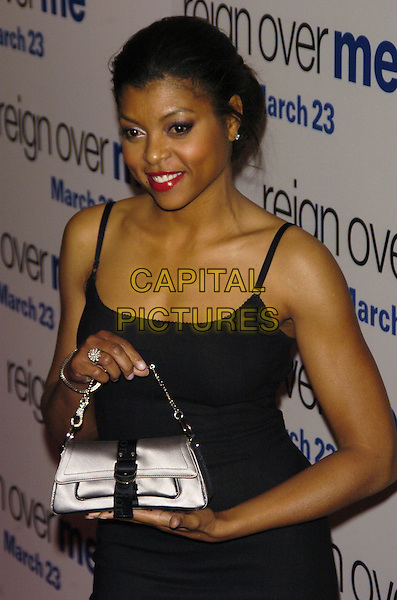 "TARAJI HENSON .Premiere of Sony Pictures ""Reign Over Me"" Skirball Center at NYU, 566 La Guardia Place, New York, New York, USA..March 20th, 2007.half length black dress silver bag purse .CAP/ADM/BL.©Bill Lyons/AdMedia/Capital Pictures *** Local Caption ***"