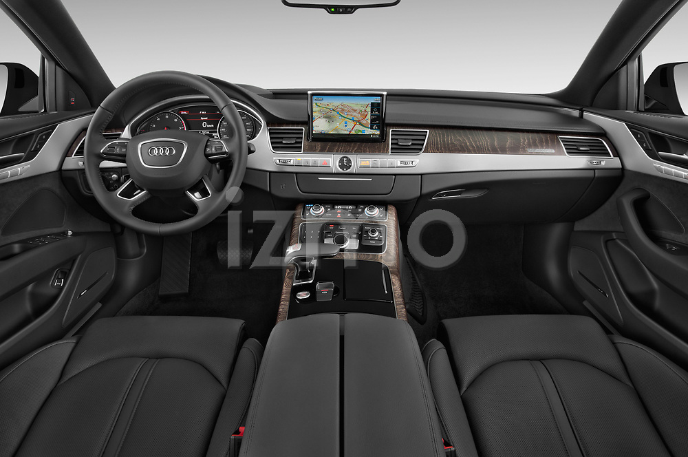 Stock photo of straight dashboard view of 2015 Audi A8 3.0T SWB quattro tiptronic 4 Door Sedan