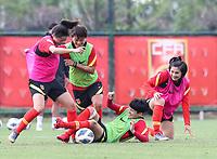 14th May 2020, Suzhou, southeastern Jiangsu Province of East China;  Wang Shuang 2nd L and Wang Shanshan 2nd R, players of Chinas womens national football team attend an open training session in Suzhou