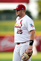 Matt Adams (25) of the Springfield Cardinals on defense during a game against the Tulsa Drillers at Hammons Field on July 19, 2011 in Springfield, Missouri. Tulsa defeated Springfield 17-11. (David Welker / Four Seam Images)