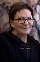 Poland's Prime Minister Ewa Kopacz .Pope Francis meets with Poland's Prime Minister Ewa Kopacz during a private audience on June 12, 2015 at the Vatican.