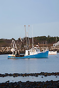 Anchored boats at Rye Harbor in Rye, New Hampshire USA