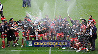 RC Toulon players celebrate winning the Heineken Cup Final between ASM Clermont Auvergne and RC Toulon at the Aviva Stadium, Dublin on Saturday 18th May 2013 (Photo by Rob Munro)