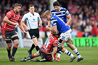 Tom Ellis of Bath Rugby takes on the Gloucester Rugby defence. Gallagher Premiership match, between Gloucester Rugby and Bath Rugby on April 13, 2019 at Kingsholm Stadium in Gloucester, England. Photo by: Patrick Khachfe / Onside Images