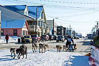 Matt Hayashida runs into the finish chute in Nome during the 2010 Iditarod