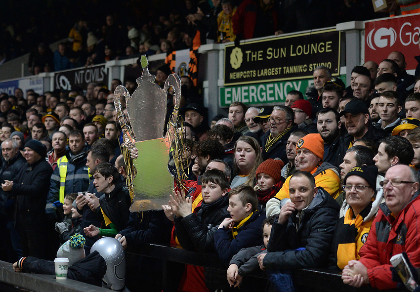 A Newport County fan holds a cardboard FA Cup prior to kick off <br /> <br /> Photographer Ian Cook/CameraSport<br /> <br /> Emirates FA Cup Fourth Round Replay - Newport County v Middlesbrough - Tuesday 5th February 2019 - Rodney Parade - Newport<br />  <br /> World Copyright © 2019 CameraSport. All rights reserved. 43 Linden Ave. Countesthorpe. Leicester. England. LE8 5PG - Tel: +44 (0) 116 277 4147 - admin@camerasport.com - www.camerasport.com