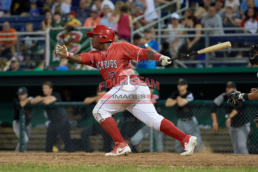 Batavia Muckdogs right fielder Albert Guaimaro (13) hits a game tying single during a game against the West Virginia Black Bears on July 3, 2018 at Dwyer Stadium in Batavia, New York.  Batavia defeated West Virginia 5-4.  (Mike Janes/Four Seam Images)