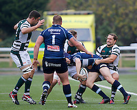 Ealing's Alex Walker tackles Bedford's Myles Dorian  during the Greene King IPA Championship match between Ealing Trailfinders and Bedford Blues at Castle Bar , West Ealing , England  on 29 October 2016. Photo by Carlton Myrie / PRiME Media