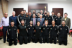 Palestinian President Mahmoud Abbas meets with the  basketball team in the West Bank city of Ramallah, on Sept. 4, 2017. Photo by Osama Falah