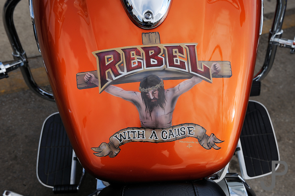 Custom gas tank painting for a Christian Motorcycle
