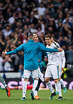 Cristiano Ronaldo of Real Madrid celebrates with teammates Karim Benzema and Theo Hernandez after the UEFA Champions League Semi-final 2nd leg match between Real Madrid and Bayern Munich at the Estadio Santiago Bernabeu on May 01 2018 in Madrid, Spain. Photo by Diego Souto / Power Sport Images