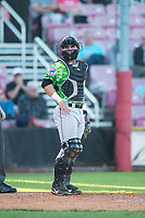 Eugene Emeralds catcher Caleb Knight (16) during a Northwest League game against the Salem-Keizer Volcanoes at Volcanoes Stadium on August 31, 2018 in Keizer, Oregon. The Eugene Emeralds defeated the Salem-Keizer Volcanoes by a score of 7-3. (Zachary Lucy/Four Seam Images)