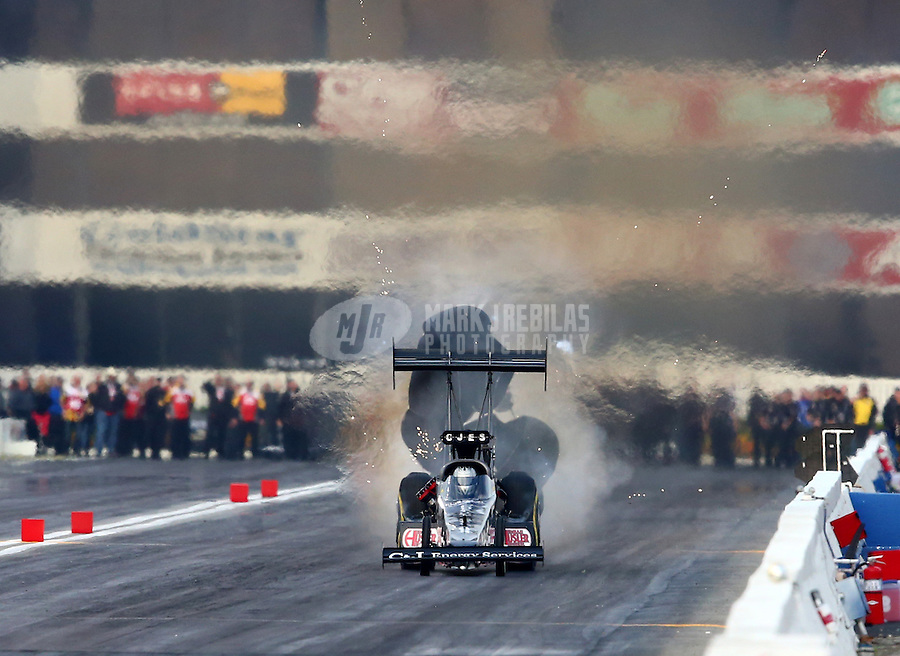 Feb 8, 2014; Pomona, CA, USA; NHRA top fuel dragster driver Bob Vandergriff Jr during qualifying for the Winternationals at Auto Club Raceway at Pomona. Mandatory Credit: Mark J. Rebilas-