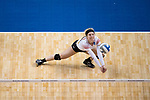 GRAND RAPIDS, MI - NOVEMBER 18: Madison Manger (1) of Wittenberg University digs the ball during the Division III Women's Volleyball Championship held at Van Noord Arena on November 18, 2017 in Grand Rapids, Michigan. Claremont-M-S defeated Wittenberg 3-0 to win the National Championship. (Photo by Doug Stroud/NCAA Photos via Getty Images)