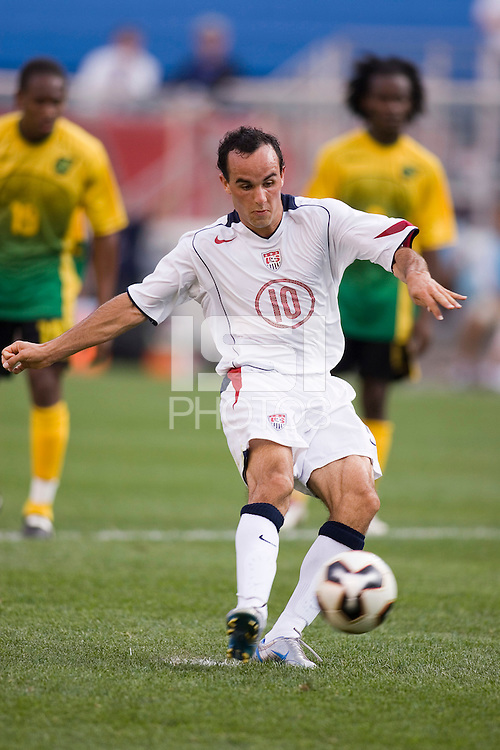 USA's Landon Donovan was unsuccessful on this penalty kick in stoppage time. The United States defeated Jamaica 3 to 1 in quarterfinal CONCACAF Gold Cup action at Gillette Stadium, Foxbourgh, MA, on July 16, 2005.