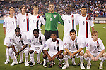 20 March 2008: United States starting eleven.  Front rrow (l to r): Jozy Altidore (USA) (12), Freddy Adu (USA) (11), Marvell Wynne (USA) (2), Nathan Sturgis (USA) (5), Dax McCarty (USA) (10).  Back row (l to r): Stuart Holden (USA) (7), Sacha Kljestan (USA) (16), Jonathan Spector (USA) (17), Chris Seitz (USA) (1), Maurice Edu (USA) (6), Michael Orozco (USA) (3). The United States U-23 Men's National Team defeated the Canada U-23 Men's National Team 3-0 at LP Field in Nashville,TN in a semifinal game during the 2008 CONCACAF Men's Olympic Qualifying Tournament. With the victory, the United States qualified for the 2008 Beijing Olympics.
