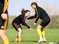 20190226 - LARNACA , CYPRUS : Belgian midfielder Zandy Soree<br />  pictured  in a duel with Belgian defender Davina Philtjens (left) during a Matchday -1 training from The Belgian Red Flames prior to their game against the women team of Slovakia , on Tuesday 26 February 2019 at the Alpha Sports Grounds in Larnaca , Cyprus . This will be the first game in group C for Belgium during the Cyprus Womens Cup 2019 , a prestigious women soccer tournament as a preparation on the European Championship 2021 qualification duels. PHOTO SPORTPIX.BE | DAVID CATRY