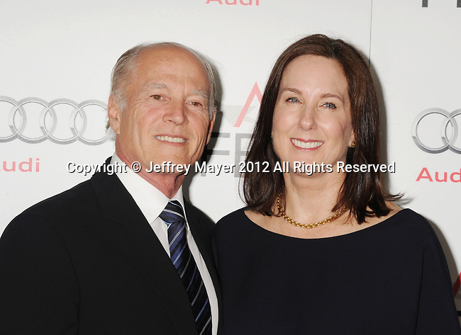 HOLLYWOOD, CA - NOVEMBER 08: Frank Marshall and Kathleen Kennedy arrive at the 'Lincoln' premiere during the 2012 AFI FEST at Grauman's Chinese Theatre on November 8, 2012 in Hollywood, California.