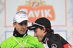 Winner Fabian Cancellara (SUI) Radioshack Leopard Trek with Peter Sagan (SVK) Cannondale in 2nd place on the podium at the end of the 56th edition of the E3 Harelbeke, Belgium, 22nd  March 2013 (Photo by Eoin Clarke 2013)