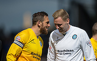 Paul Hayes of Wycombe Wanderers & Goalkeeper Ryan Allsop (Loanee from Bournemouth) of Wycombe Wanderers enjoy a chat pre match during the Sky Bet League 2 match between Portsmouth and Wycombe Wanderers at Fratton Park, Portsmouth, England on 23 April 2016. Photo by Andy Rowland.