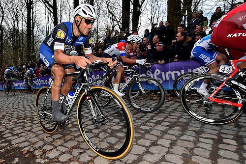 27.03.2016. Deinze, Belgium.  BOONEN Tom (BEL) Rider of ETIXX - QUICK STEP in action on the Kemmelberg during the Flanders Classics UCI World Tour 78nd Gent-Wevelgem cycling race with start in Deinze and finish in Wevelgem