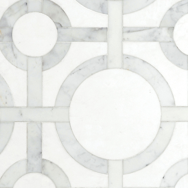 Cirque, a waterjet stone mosaic, shown in Honed Thassos and Polished Calacatta Tia