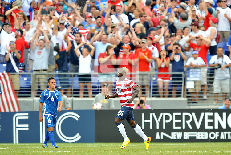Eddie Johnson (26) of the USMNT celebrates  his score. The USMNT defeated El Salvador 5-1 at the quaterfinal game of the Concacaf Gold Cup, M&T Stadium, Sunday July 21 , 2013.