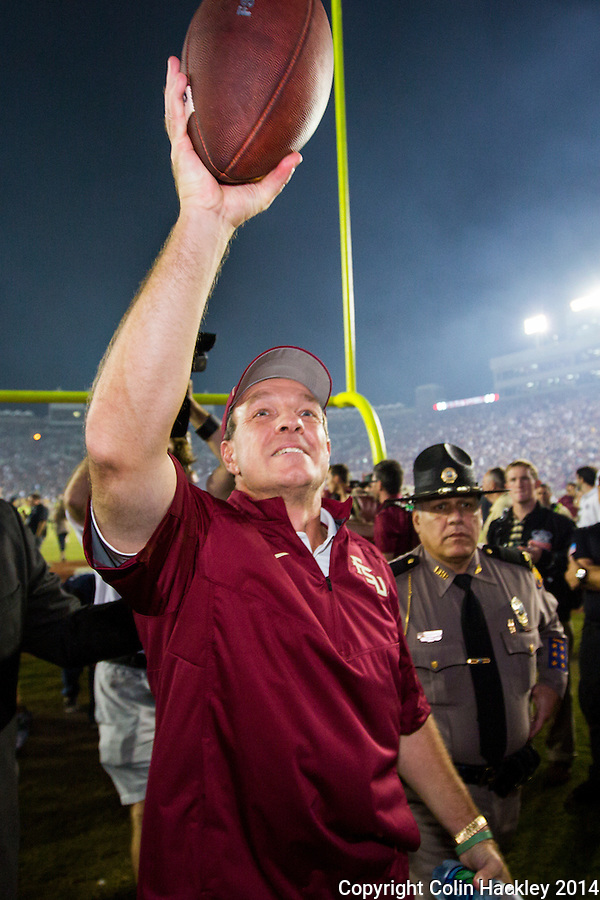 TALLAHASSEE, FLA. 10/18/14-FSU-ND101814CH-Florida State Head Coach Jimbo Fisher celebrates after the Seminoles beat the Fighting Irish 31-27 Saturday at Doak Campbell Stadium in Tallahassee.<br /> COLIN HACKLEY PHOTO