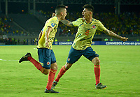 PEREIRA – COLOMBIA, 27-01-2020: Atuesta de Colombia celebra después de anotar un gol a Venezuela durante partido entre Colombia y Venezuela por la fecha 4, grupo A, del CONMEBOL Preolímpico Colombia 2020 jugado en el estadio Hernán Ramírez Villegas de Pereira, Colombia. / Atuesta of Colombia celebrates after scoring the first goal of his team during match between Colombia and Venezuela for the date 4, group A, for the CONMEBOL Pre-Olympic Tournament Colombia 2020 played at Hernan Ramirez Villegas stadium in Pereira, Colombia. Photo: VizzorImage / Christan Alvarez/ Cont