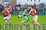 The Bernard O'Callaghan Memorial Senior Football Championship 2013, Round 1 Ballyduff (white/green) V Duagh (Red) which took place on Sunday in Frank Sheehy Park, Listowel.  Referee: Billy McElligot, Listowel Emmets.<br /> <br /> Some excellent defending by Anthony Maher of Duagh which caused the retreat of Ballyduff's Evan Doyle back into his own half.