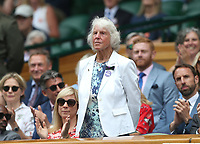 Former tennis player Ann Jones is introduced to the Centre Court crowd <br /> <br /> Photographer Rob Newell/CameraSport<br /> <br /> Wimbledon Lawn Tennis Championships - Day 6 - Saturday 6th July 2019 -  All England Lawn Tennis and Croquet Club - Wimbledon - London - England<br /> <br /> World Copyright © 2019 CameraSport. All rights reserved. 43 Linden Ave. Countesthorpe. Leicester. England. LE8 5PG - Tel: +44 (0) 116 277 4147 - admin@camerasport.com - www.camerasport.com