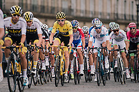 Team SKY piloting yellow jersey / GC leader Geraint Thomas (GBR/SKY) safely over the famous Champs-Élysées boulevard<br /> <br /> Stage 21: Houilles > Paris / Champs-Élysées (115km)<br /> <br /> 105th Tour de France 2018<br /> ©kramon