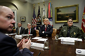 "United States President Donald J. Trump attends a briefing on drug trafficking on the Southern Border at the White House in Washington on February 13, 2019. The President said the FAA will soon announce it is grounding the Boeing 737 MAX 8 and 737 MAX 9 ""Until further notice,"" he said  ""The safety of the American people, of all people, is our paramount concern.""<br /> Credit: Yuri Gripas / Pool via CNP"