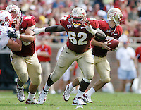 TALLAHASSEE, FL 10/31/09-FSU-NCST FB09 CH57-Florida State offensive linemen Ryan McMahon (60), left, and Rodney Hudson (62) keep N.C. State away from quarterback Christain Ponder during first half action Saturday at Doak Campbell Stadium in Tallahassee. .COLIN HACKLEY PHOTO