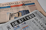 July 24, 2015, Tokyo, Japan - Japan's business daily newspaper, the Nikkei or Nihon Keizai Shimbun and Financial Times newspaper front pages are pictured in Tokyo, on July 24, 2015. Nikkei Inc. announced on Thursday July 23rd the buy-out of the leading British newspaper Financial Times Group from the educational services group Pearson PLC for 844 million pounds (about $1.3 billion,) with a transaction expected to close in the fourth quarter of 2015 and expected to be one of the biggest acquisitions of an overseas business by a Japanese media group ever. (Photo by Yosuke Tanaka/AFLO)